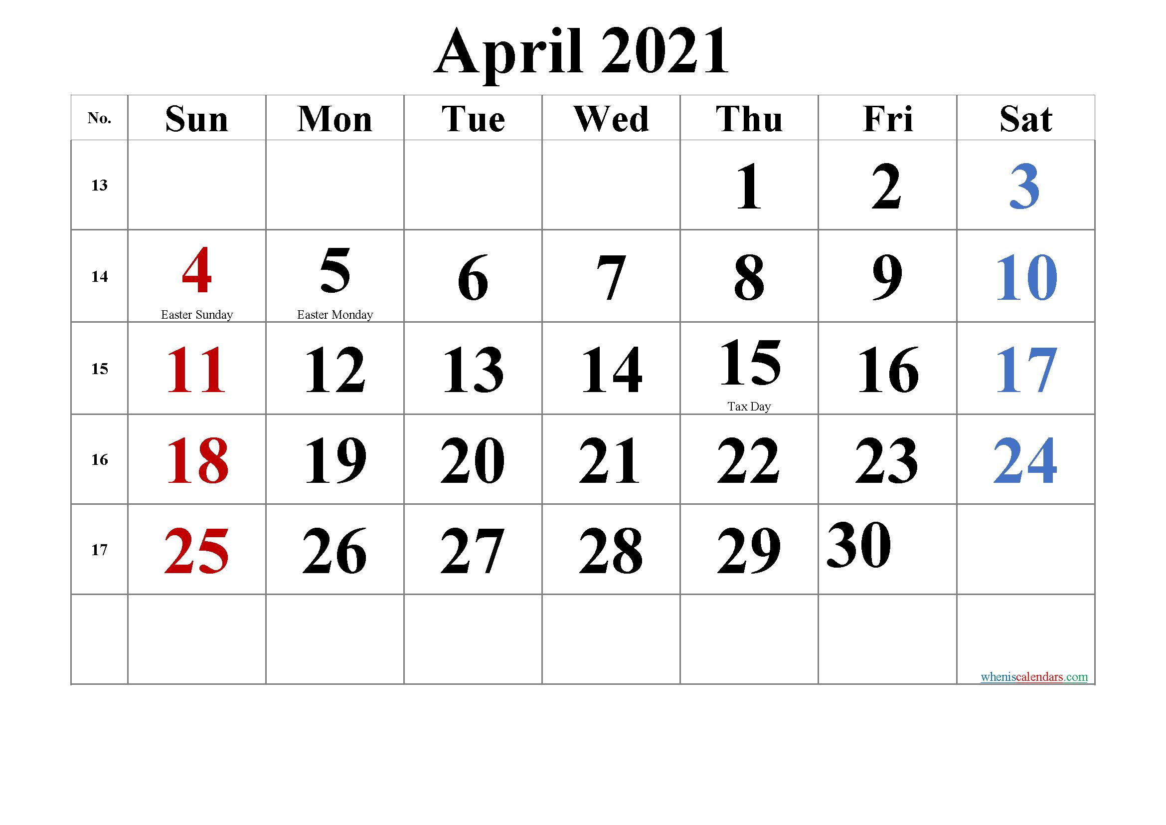 20+ Calendar 2021 Easter - Free Download Printable ...