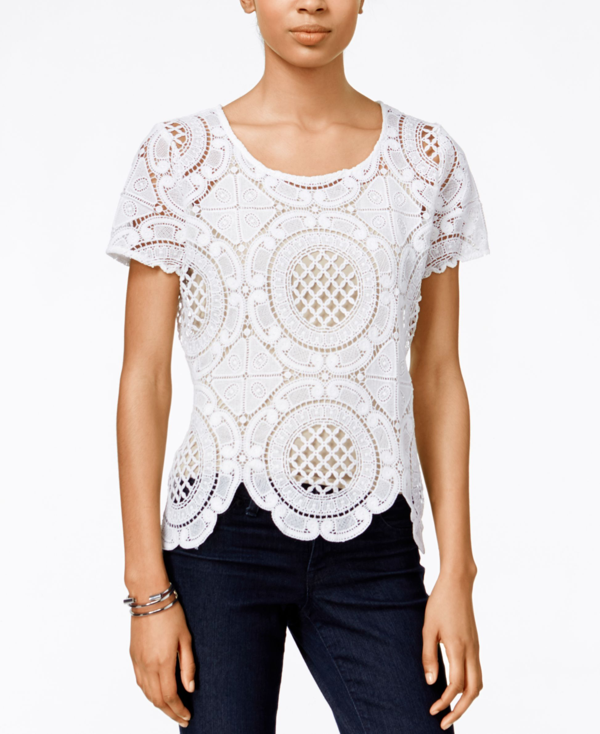 Bar Iii Short-Sleeve Crocheted Top, Only at Macy's