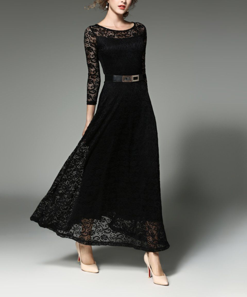 Take a look at this coeur de vague black laceoverlay maxi dress