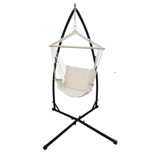 Beige Padded Hammock Chair With Wooden Arm Rests With Stand   Heavenly  Hammocks