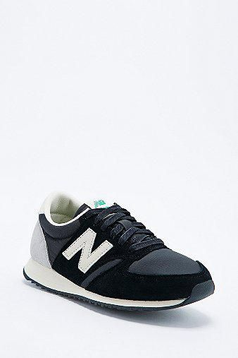 New Balance 420 Suede Runner Trainers in Black #shoes #offduty #covetme #newbalance #trainers #fashion #casual #navy #blue
