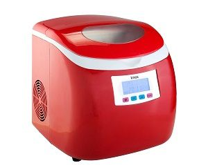 Knox Compact Ice Maker, Red - this ice machine has 3 selectable cube sizes and a removable tray for easy ice transfer. 6 minutes to ice cubes with the Knox automated ice maker. Also available in White and Silver.