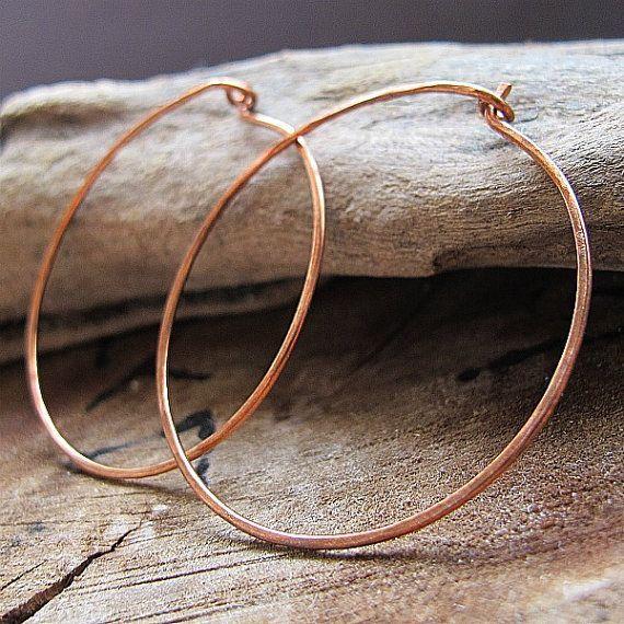 Large Shape Copper Hoop Earrings Handmade and Hammered Earwire Hoops 20 gauge 15 2 inch 3 i Large Shape Copper Hoop Earrings Handmade and Hammered Earwire Hoops 20 gauge...