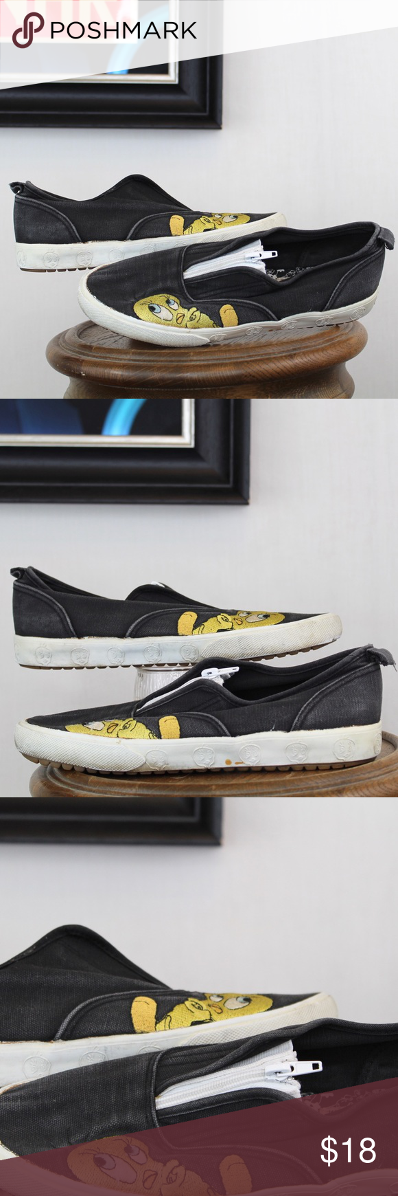 Tweety Slip ons Super cute Looney Tunes black slip ons with tweety embroidered on each shoe Has tweety in the rubber bottom of the shoe They are a Womens 85    depop 70s...