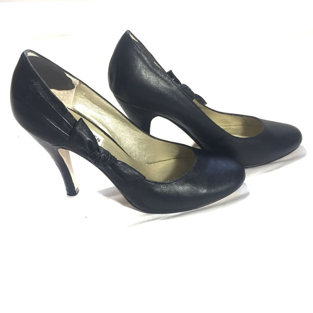 4f0f1cc73f6 Details about Steve Madden Leather Bow Heels Round Toe Pumps Black ...