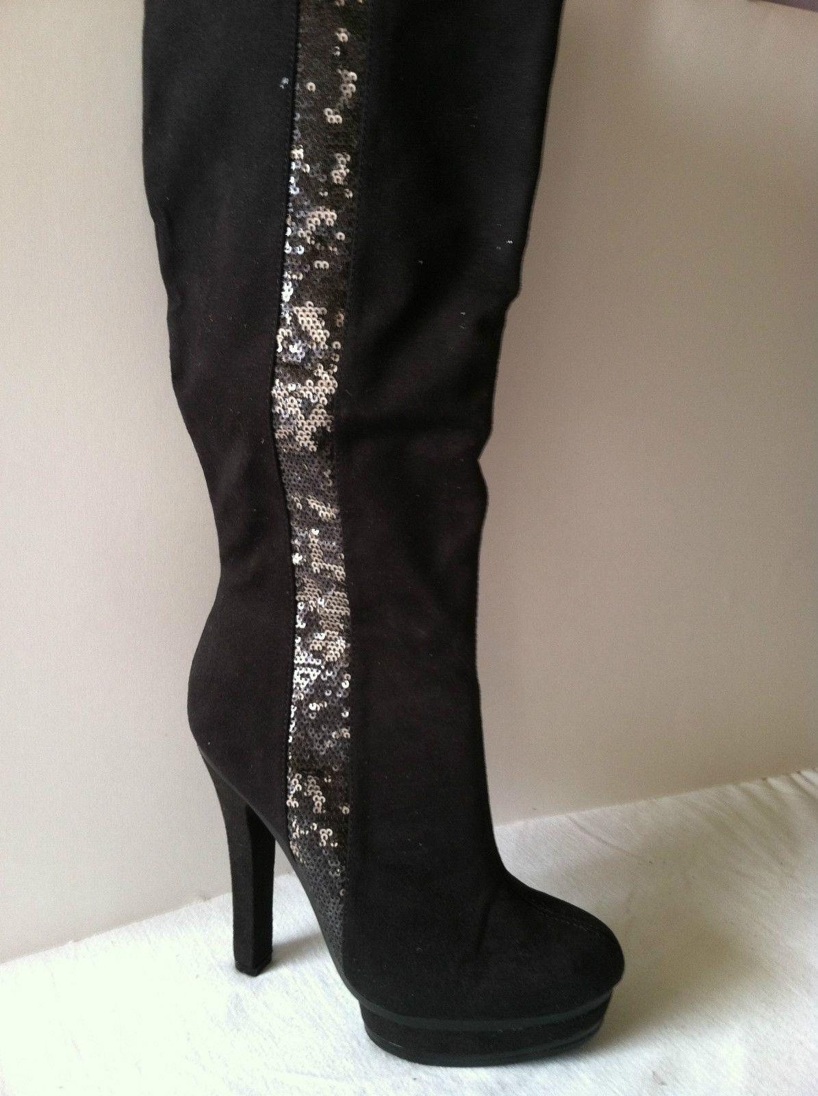 Jennifer Lopez Black Sequin Platform High Heeltall Boots Sz.6.5 7 7.5 8 9