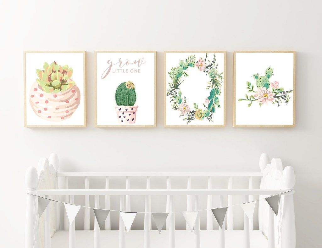 Cactus And Succulent Wall Prints For Little Girls Nursery Printable Wall Decor Nursery Frames Baby Bedroom Nursery