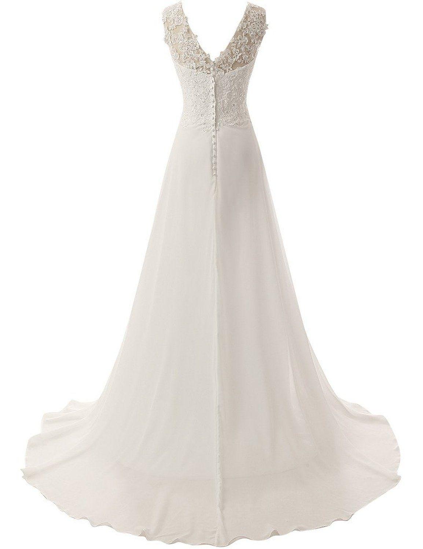 JAEDEN Elegant V-neck A-line Lace Chiffon Long Beach Wedding Dress ...