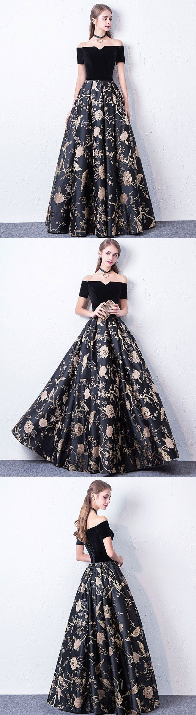 Black floral gown dresses prom partydress eveningwear prom