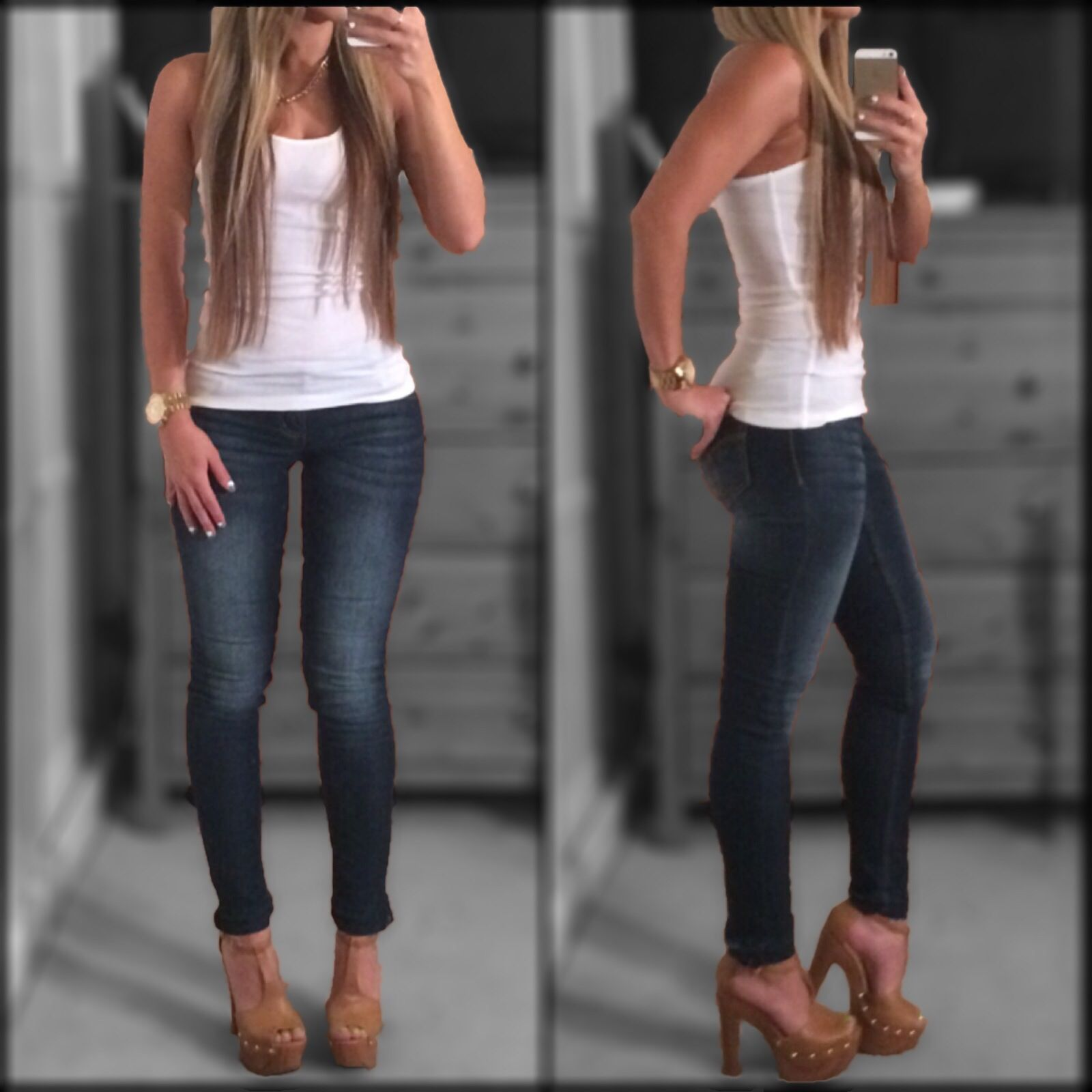 Skinny jeans white tank top