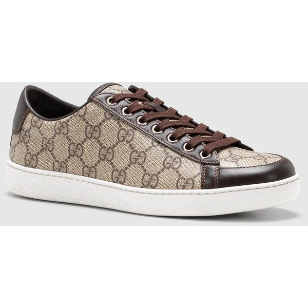 gucci brooklyn gg supreme canvas sneaker 465 liked on polyvore featuring shoes sneakers. Black Bedroom Furniture Sets. Home Design Ideas