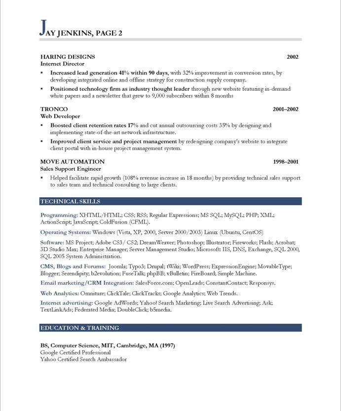 Internet MarketerPage2 Marketing Resume Samples Pinterest