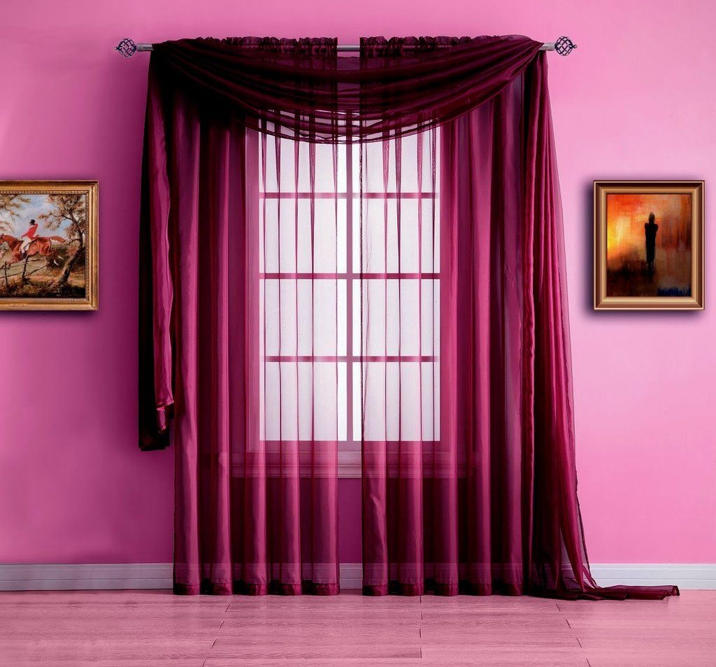 Extra Long Plum Purple Valance Window Scarf Or Voile Sheer