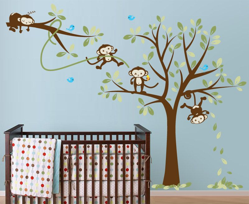 Monkey Wall Decal Monkeys In A Tree With Branch Vinyl For Nursery Kids Childrens Room 94 00 Via Etsy