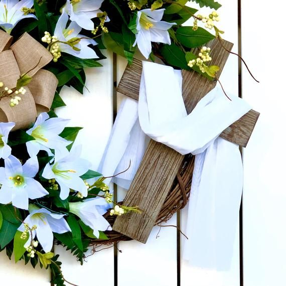 Photo of Cross & Lillies,Easter Grapevine,Easter Lilly Wreath,Cross and Shroud,Easter Decor,Front Door Wreath