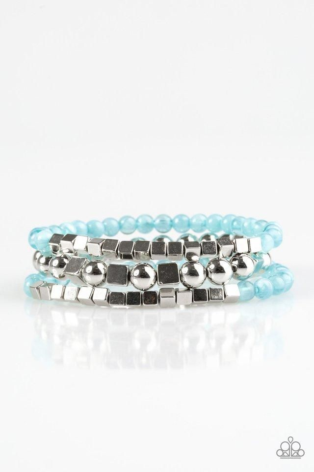 Paparazzi Take Shape Blue And Silver Cube Bead Bracelet Products