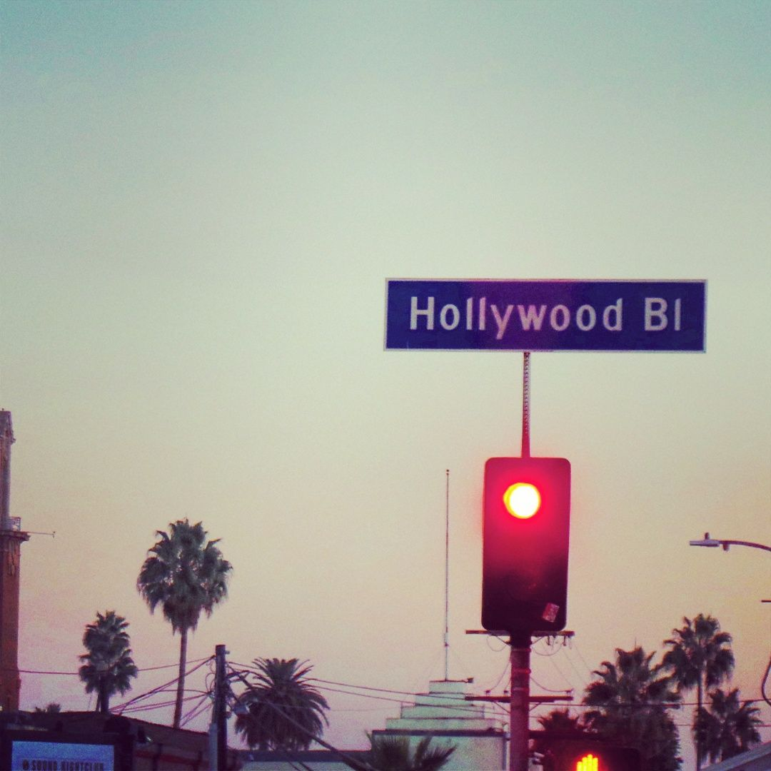 The Hollywood Boulevard sign at dusk..