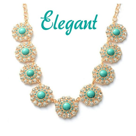🆕Statement Necklace Teal Chroma  White and Blue Australian Crystals Goldtone Boutique Jewelry Necklaces