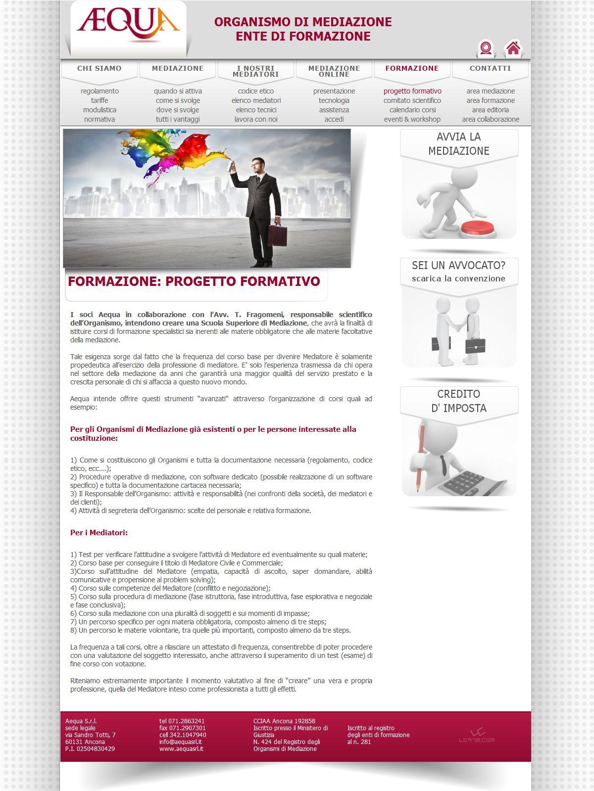Ideazione e realizzazione sito web internet per società mediazione ad Ancona, Aequa - http://www.aequasrl.it/