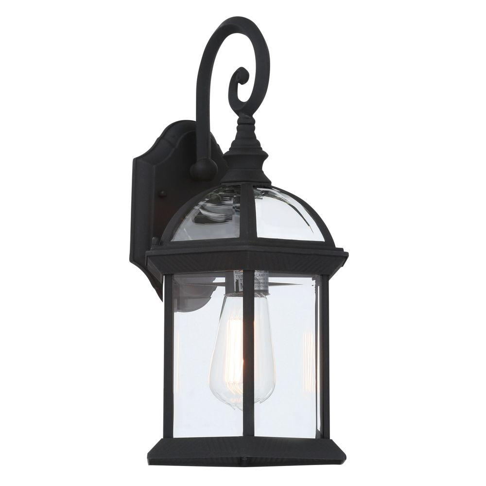 Bel Air Lighting Wall Mount 1 Light Outdoor Black Coach Wall Lantern Sconce With Clear Glass 4181 Bk The Home Depot In 2020 Bel Air Lighting Outdoor Wall Mounted Lighting Wall Lantern