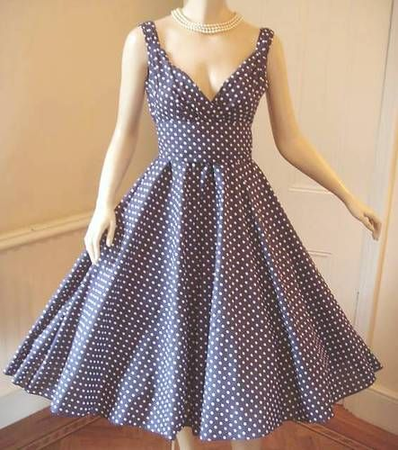 "New Ladies ""Vintage"" 1950s style Navy Blue Polka Dot Summer Swing Tea dress"