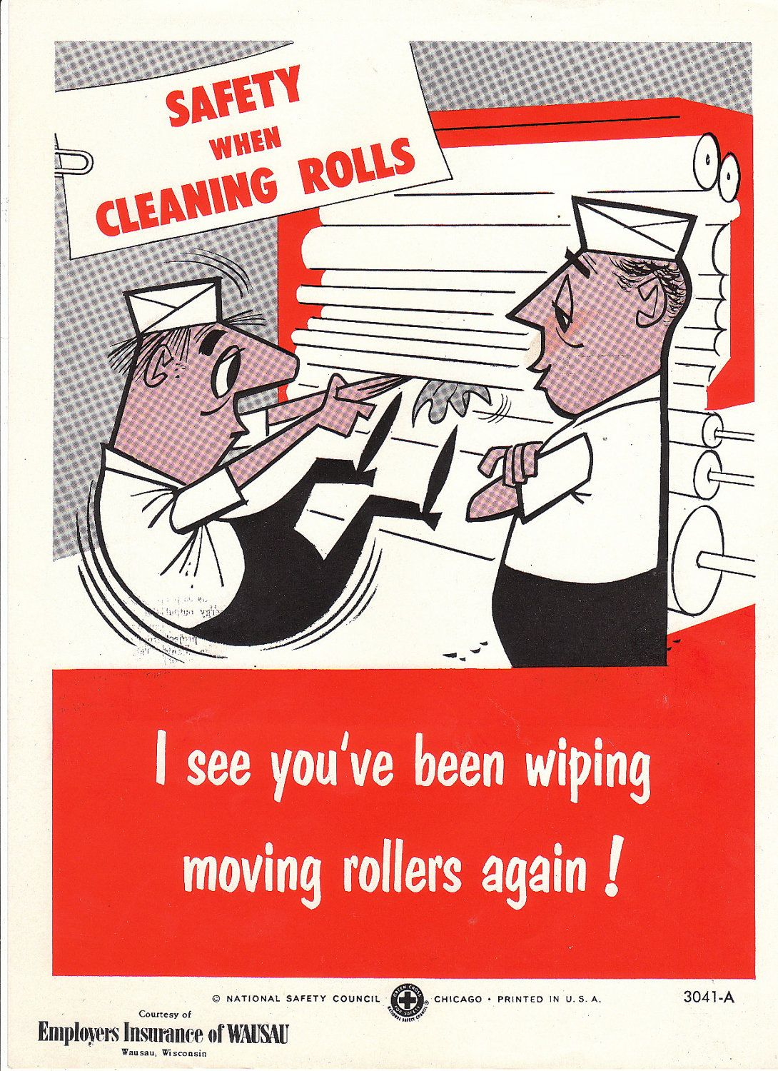 Vintage National Safety Poster Cleaning Rolls Safety Posters