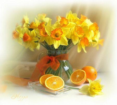 still life - flowers, orange, beautiful, ribbon, harmony, yellow, fruit, fresh, flower, photography, still life, photo, glass, jug, oranges, daffodils vase