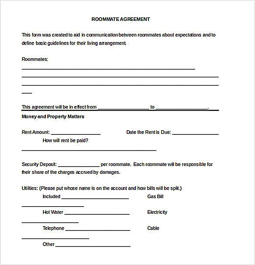 Example Roommate Agreement Download  How To Create Your Own