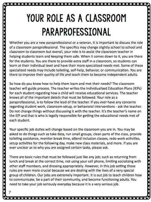 BTSE Paraprofessional Training Manual Special education, School - classroom aide sample resume