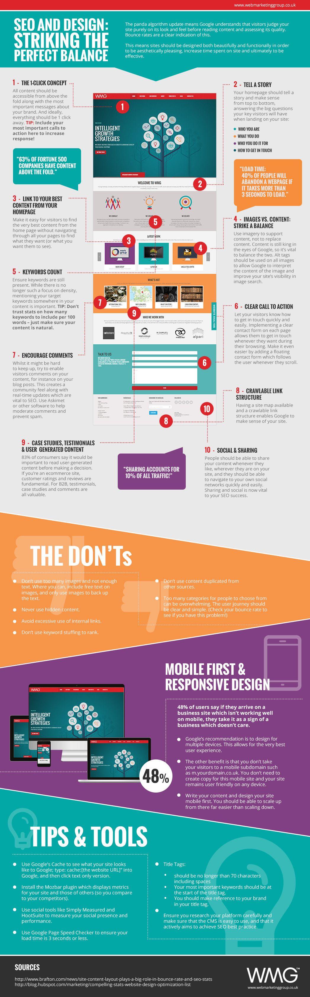Seo And Design Striking The Perfect Balance Infographic Informationsgrafik Marknadsforing Sociala Medier