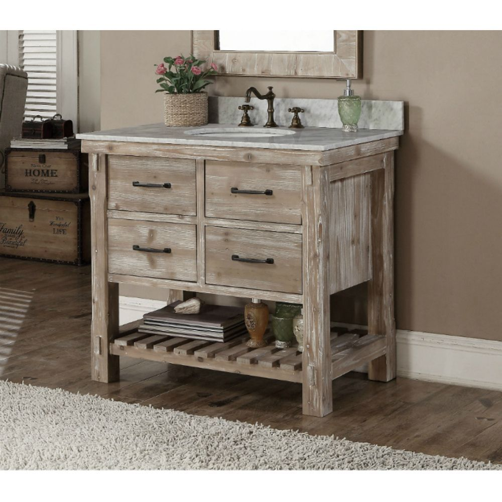 This rustic style bathroom vanity features with tip out