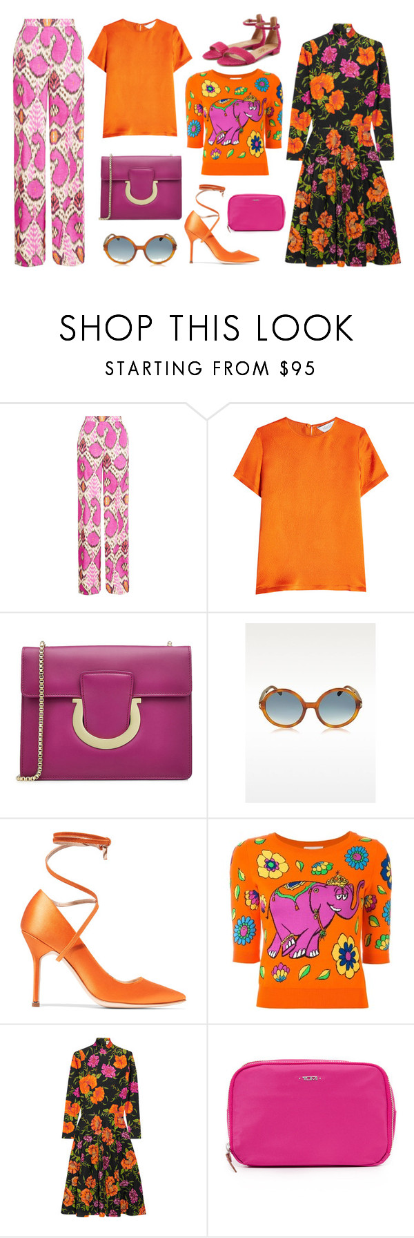 """Floral Print"" by cherieaustin ❤ liked on Polyvore featuring Etro, MaxMara, Salvatore Ferragamo, Vetements, Moschino, Balenciaga and Tumi"