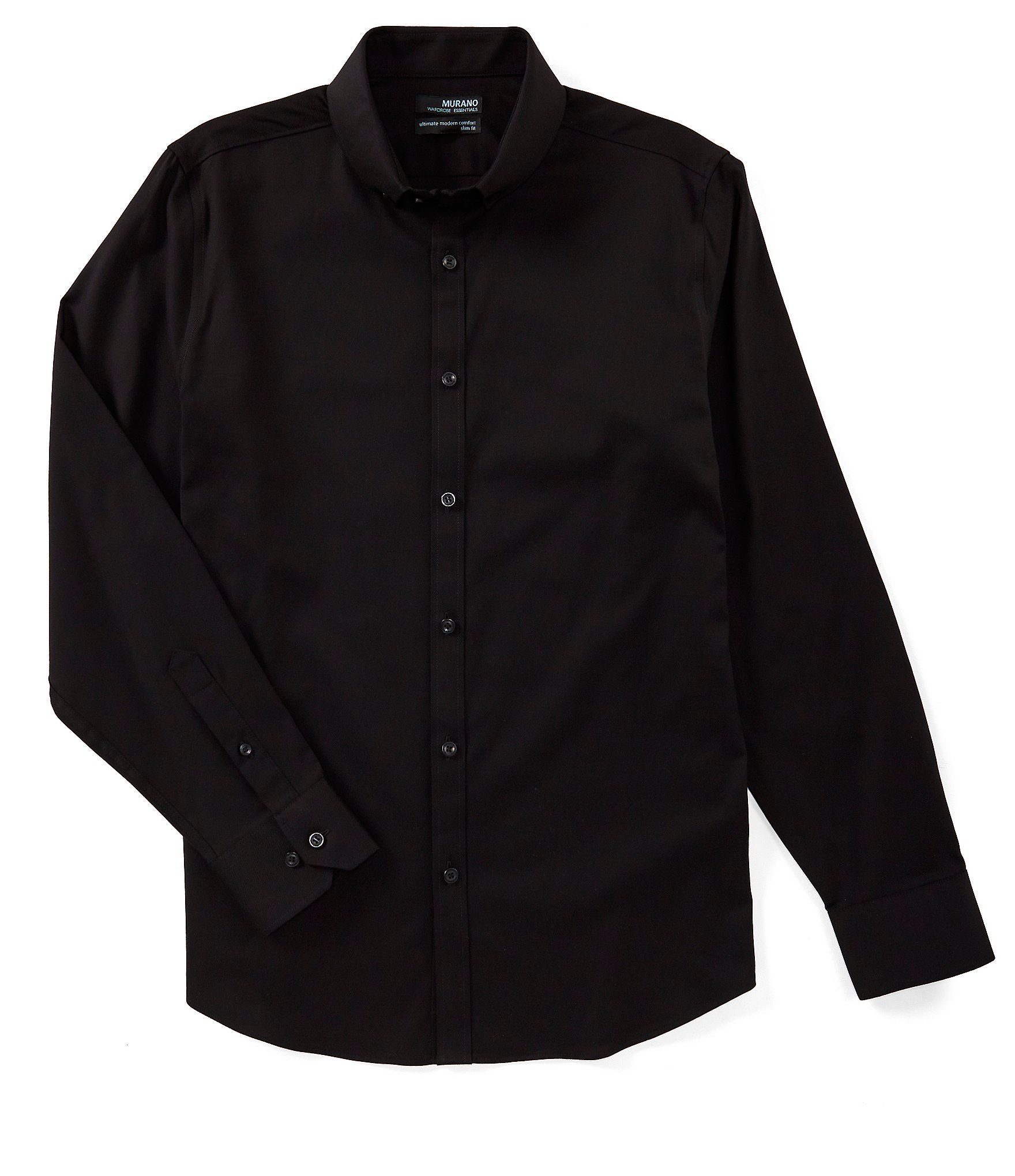 Murano Wardrobe Essentials Slim Fit Solid Twill Long Sleeve Woven Shirt Dillard S In 2021 Black Dress Shirt Men Woven Shirt Shirts [ 2040 x 1760 Pixel ]