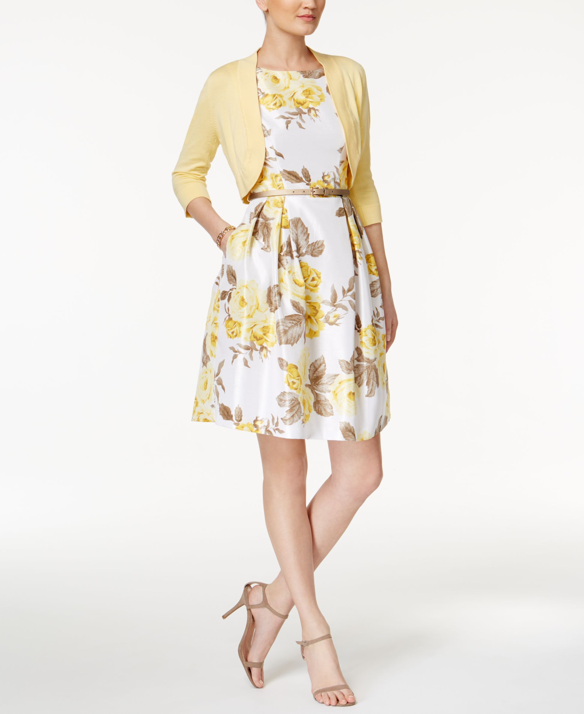 86a0dc03306 Jessica Howard Petite Floral-Print Fit   Flare Dress and Sweater Shrug