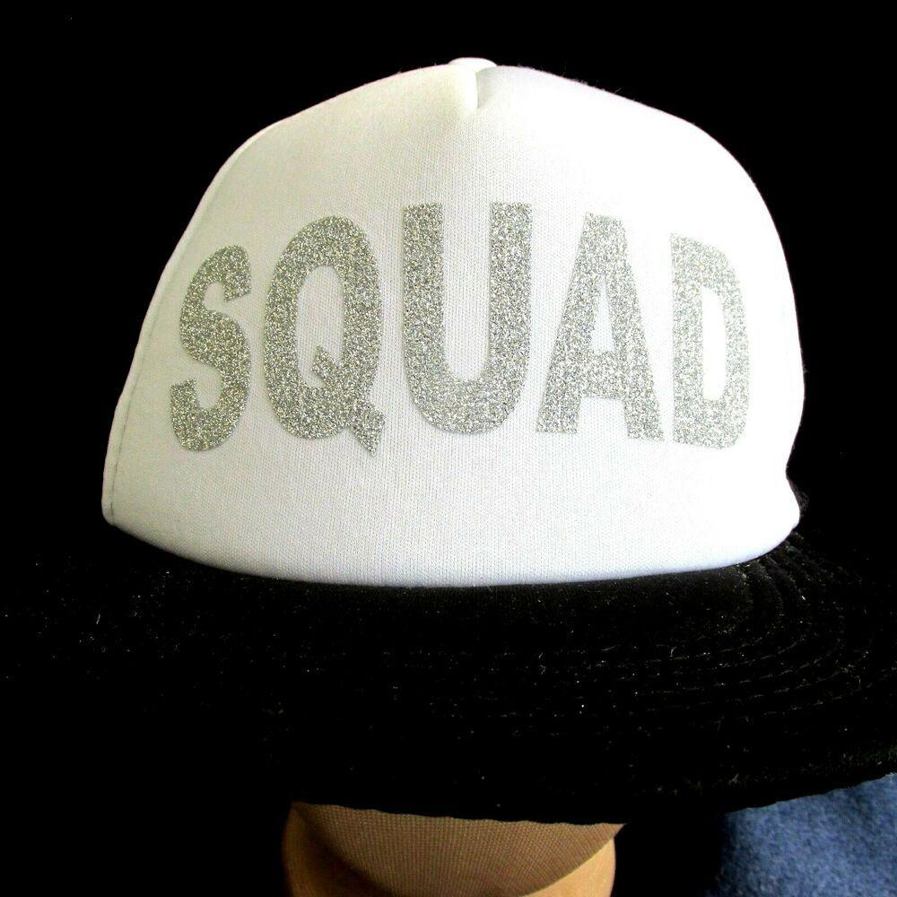 Trucker Hat Silver Glitter Letters Squad Snapback Foam