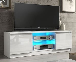 Modern Tv Unit Cabinet Stand White Matt And High