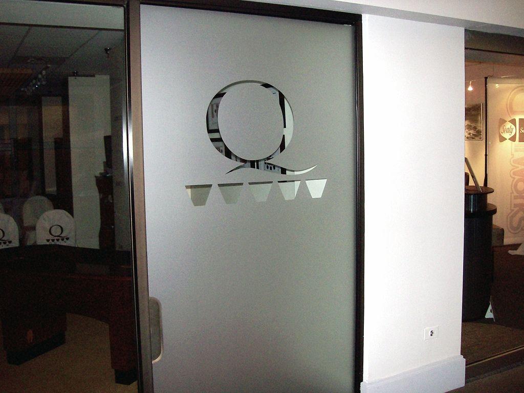 Glass office doors manufacturers - Glass Office Door With Vinyl Etched Q Metrics Frosted Vinyl Privacy Door