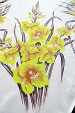 Vintage Tablecloth by California Handprints - Yellow Gladiolus -  Summer Spring