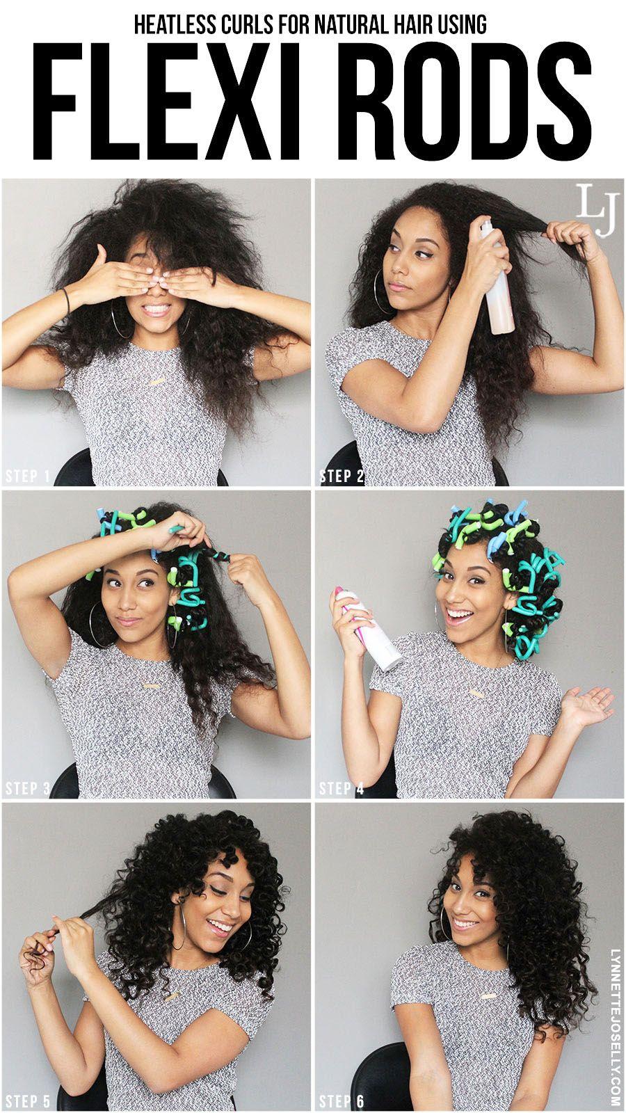 Heatless Curls For Natural Hair Using Flexi Rods Natural Hair Styles Hair Styles Curly Hair Styles