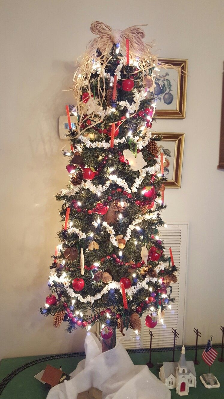 Early American Tree W Popcorn Real Cranberries Fruit Nuts Etc Holiday Decor Christmas Christmas Tree