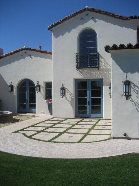Modern Spanish Residential Design Remodeling Exterior Design With Cot French Door Blue Door
