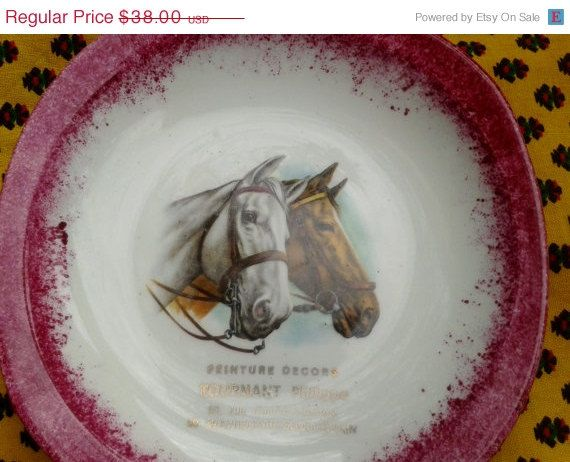 ON SALE Horse Ceramic Tray   French Porcelain by SophieLadyDeParis, $34.20