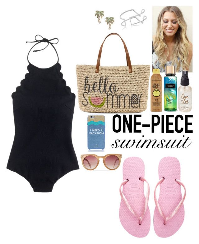 """""""BEACH"""" by crystlbll ❤ liked on Polyvore featuring J.Crew, Havaianas, Straw Studios, Kate Spade, Forever 21, Olivine, Edge of Ember, GetTheLook and Swimsuits"""