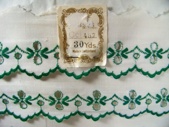 Vintage Embroidered Trim Cotton Edging Scalloped by SmakBoutique