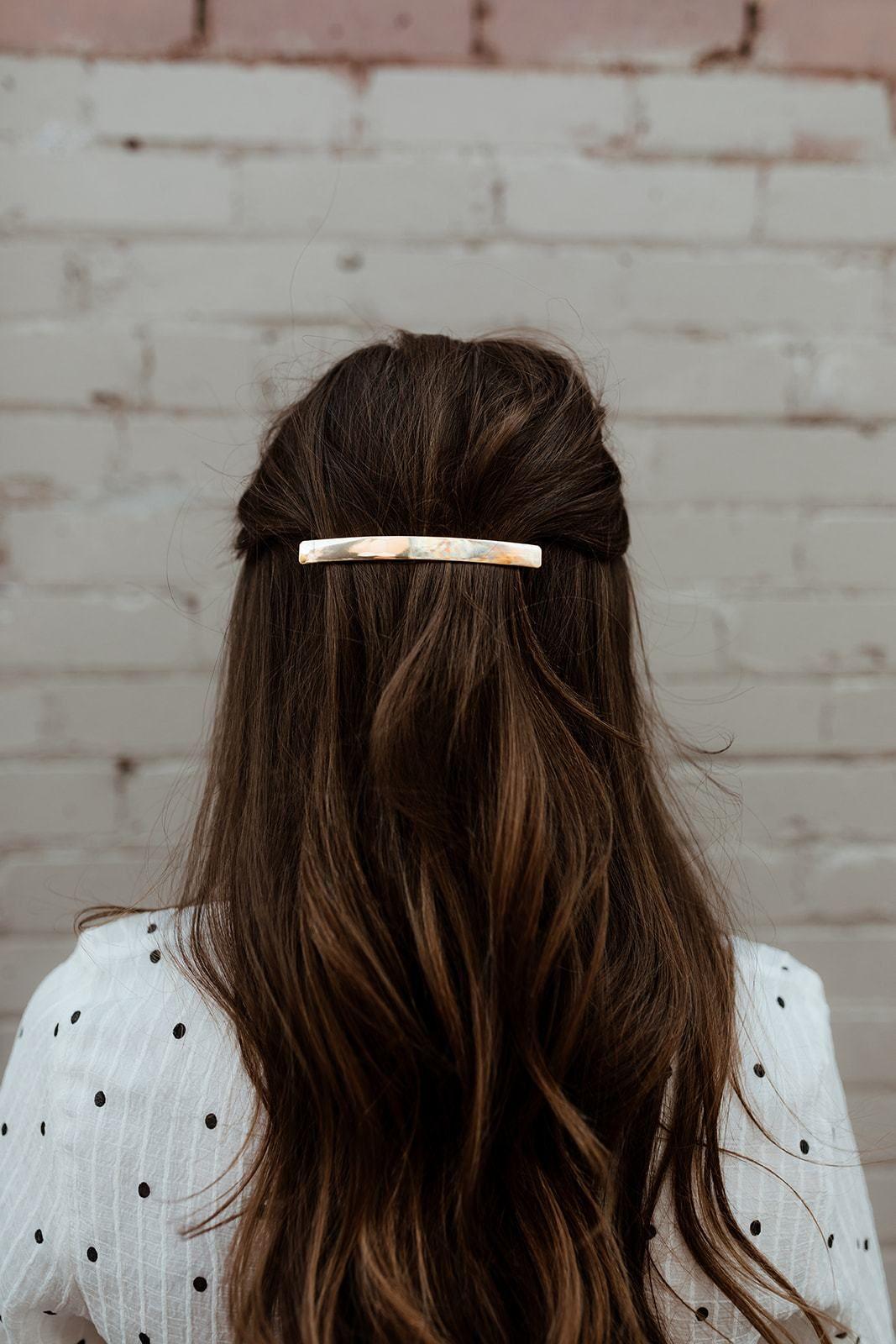 Gold Bar Hair Barrett Thin Long Long Hair Clip Clip Hairstyles Hair Barrettes