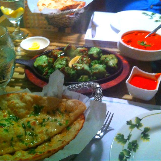 Chicken Tikka Masala, cilantro mint chicken and garlic naan.