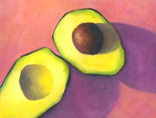 Joe Bradney, still life oil painting of avocado halved on candy pink background