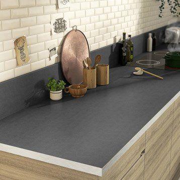 Plan de travail droit stratifié gris métal, 315 x 65 cm, ép 38 mm - plan de maison en v gratuit