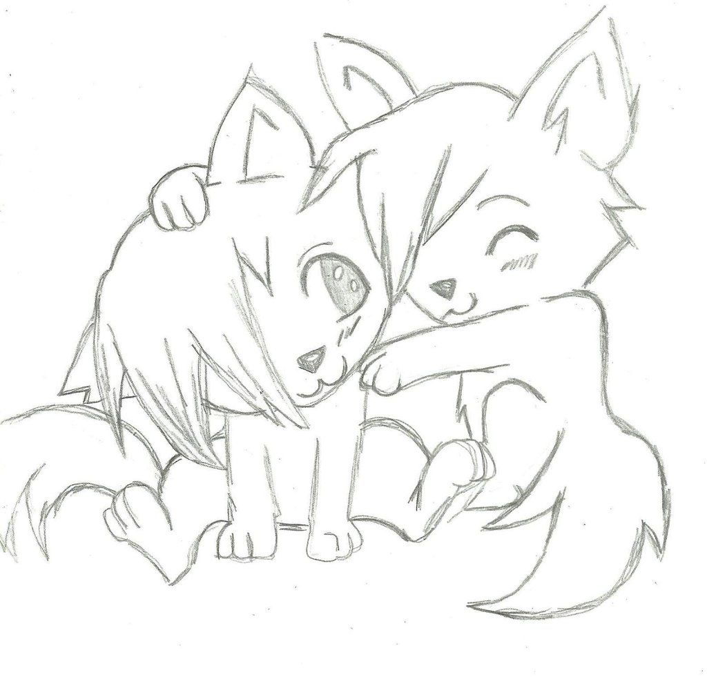 Simple Howling Wolf Drawings Pencil Wolves In Love Easy Drawings