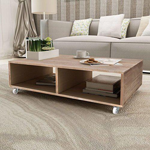 SENLUOWX Couchtisch mit vier Rollen Braun Massiv Holz Beistelltisch - grose wohnzimmer bilder